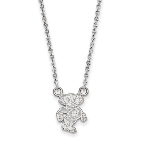 14kw LogoArt University of Wisconsin Small Pendant w/Necklace