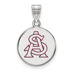 Sterling Silver LogoArt Arizona State University Medium Enamel Disc Pendant