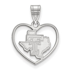 Sterling Silver LogoArt Texas Tech University Pendant in Heart