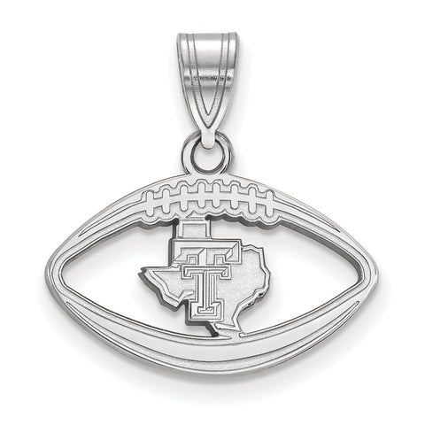 Sterling Silver LogoArt Texas Tech University Pendant in Football