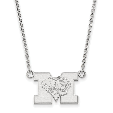 Sterling Silver LogoArt University of Missouri Small Pendant w/Necklace