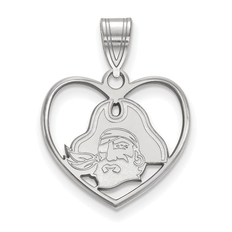 Sterling Silver LogoArt East Carolina University Pendant in Heart