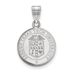 Sterling Silver LogoArt Texas Tech University Medium Crest Pendant