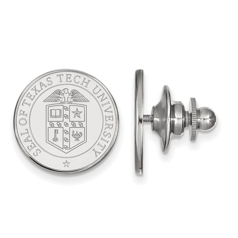 Sterling Silver LogoArt Texas Tech University Crest Lapel Pin