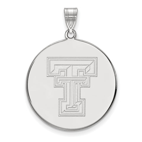 Sterling Silver LogoArt Texas Tech University XL Disc Pendant