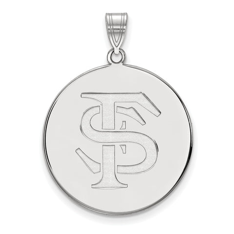 Sterling Silver LogoArt Florida State University XL Disc Pendant