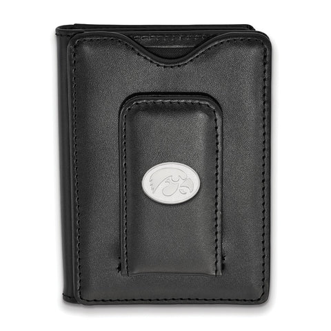 Sterling Silver LogoArt University of Iowa Black Leather Money Clip Wallet