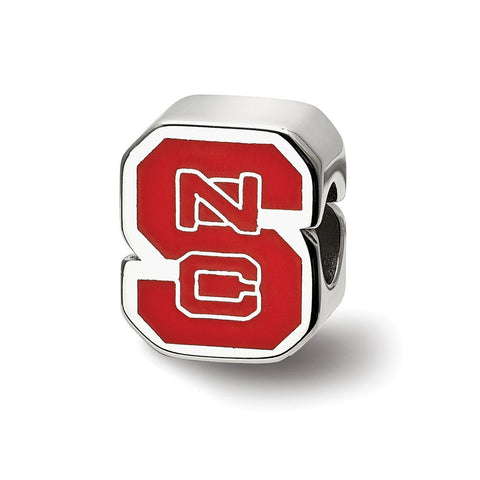 Sterling Silver LogoArt North Carolina State U Enameled Logo Bead