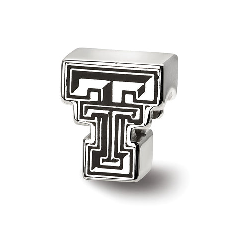 Sterling Silver LogoArt Texas Tech University Block TT Enameled Logo Bead