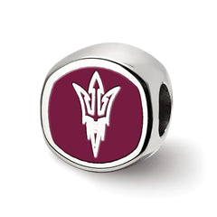 Sterling Silver LogoArt Arizona State U Pitchfork Cushion Shaped Logo Bead
