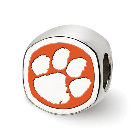 Sterling Silver LogoArt Clemson University Cushion Shaped Logo Bead