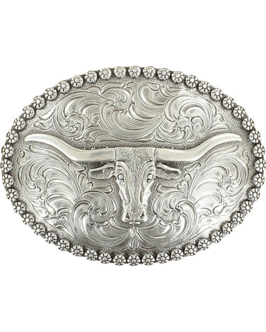 Nocona Belt Buckle - Oval Berry Edge Longhorn