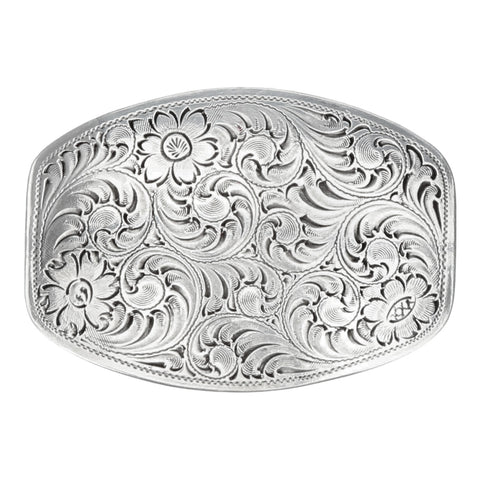 Nocona Belt Buckle - Smooth Edge Floral Scroll