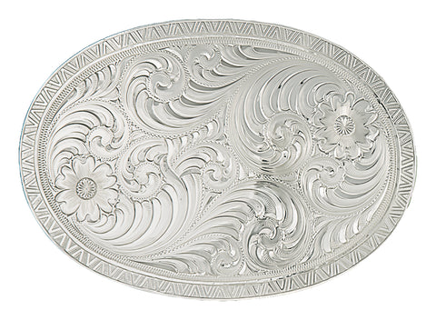 Montana Silversmiths Oval Silver Engraved Western Belt Buckle with Geometric Trim