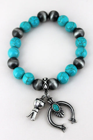 Turquoise and Navajo Pearl Stretch Bracelet with Charms