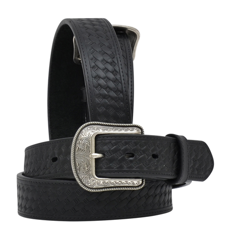 3D Belt Company Men's Black Basketweave Leather Belt