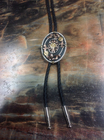 Black, Bronze, and Gold Floral Oval Bolo Tie