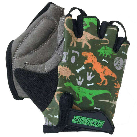 Zippyrooz Dinosaurs Half Finger Kids Biking Gloves