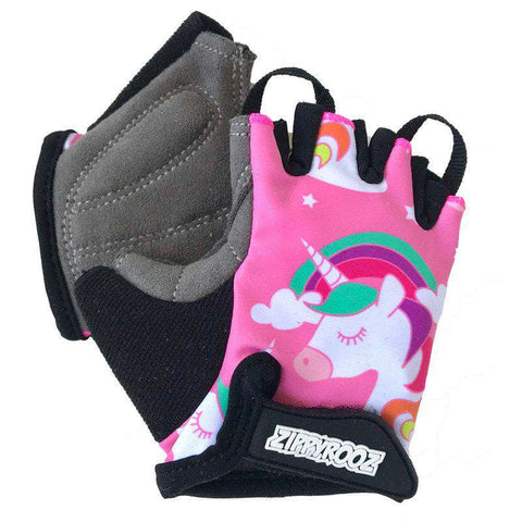 Zippyrooz Unicorns Half Finger Kids Biking Gloves