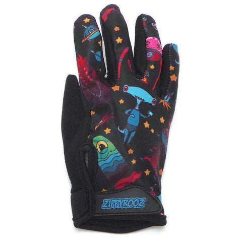 ZippyRooz Aliens Full Finger Kids Biking Gloves