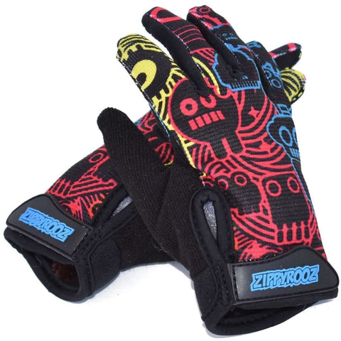 Zippyrooz Robots Full Finger Kids Biking Gloves