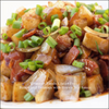 Gluten Free Asian Breakfast Potato with Bacon and Brown Stir Fry Sauce Image