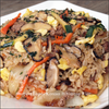 Korean Bibimbap rice with brown stir fry sauce recipe image