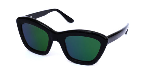 Chloe - Black acetate with mirror green lens