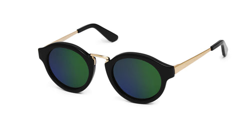 Miki - Black & Rose Gold w Mirror Green Lens