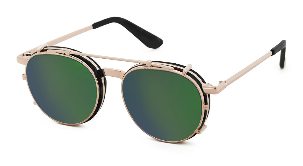 Malcolm - Black & Rose Gold w Mirror Green Lens