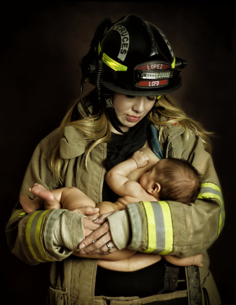 Firefighter nursing baby. Tara Ruby Photography. Moms in uniform