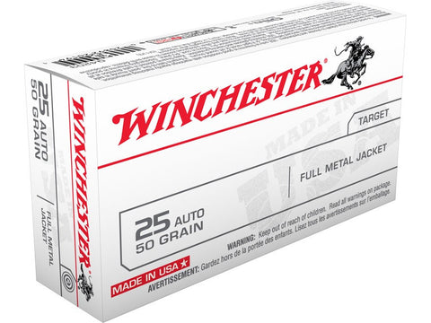 Winchester USA Ammunition 25 ACP 50 Grain Full Metal Jacket (50pk)