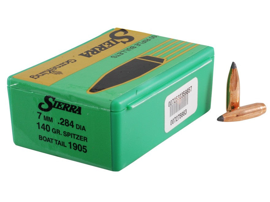 Sierra GameKing Bullets 284 Caliber, 7mm (284 Diameter) 140 Grain Spitzer Boat Tail (100pk)