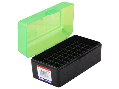 MTM Flip-Top Ammo Box 22-250 Remington, 250 Savage, 35 Remington 50-Round Green/Black