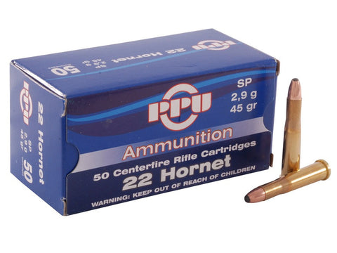 Prvi Partizan PPU Ammunition 22 Hornet 45 Grain Soft Point (50pk)