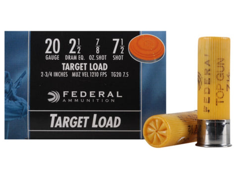 "Federal Top Gun Ammunition 20 Gauge 2-3/4"" 7/8 oz #7.5 Shot (25pk)"