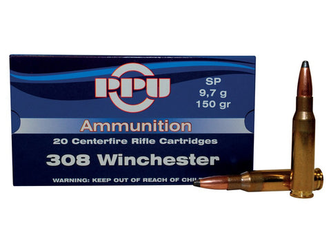 Prvi Partizan PPU Ammunition 308 Winchester 150 Grain Soft Point (20pk)