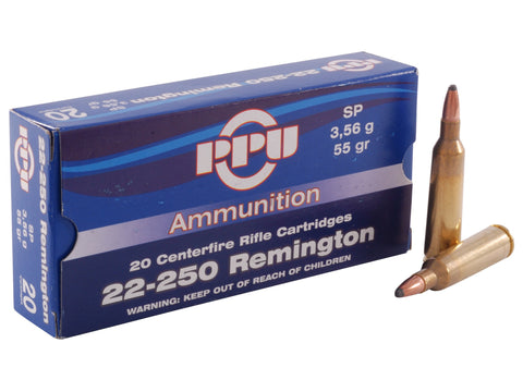 Prvi Partizan PPU Ammunition 22-250 Remington 55 Grain Soft Point (20pk)