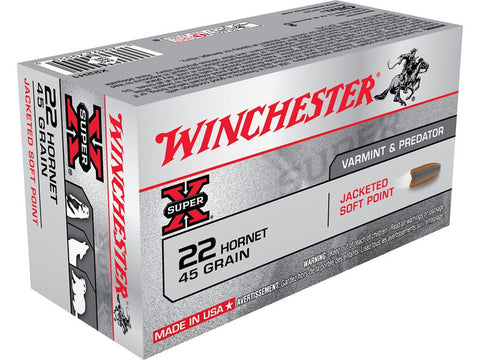 Winchester Super-X Ammunition 22 Hornet 45 Grain Soft Point (50pk)