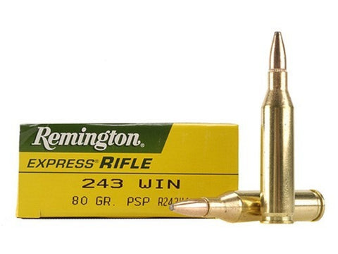 Remington Express Ammunition 243 Winchester 80 Grain Pointed Soft Point (20pk)