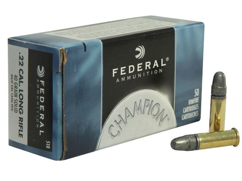 Federal Champion Ammunition 22 Long Rifle High Velocity 40 Grain Lead Round Nose (50pk)