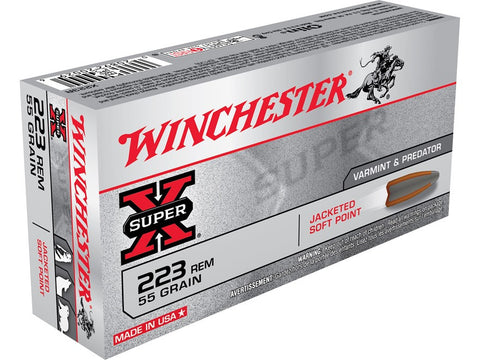 Winchester Super-X Ammunition 223 Remington 55 Grain Pointed Soft Point (20pk)