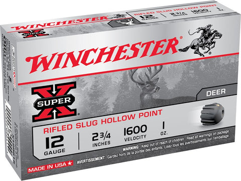 "Winchester Super-X Ammunition 12 Gauge 2-3/4"" 1 oz Rifled Slug (5pk)"
