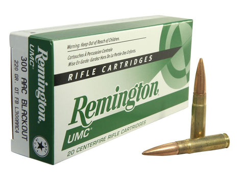 Remington UMC Ammunition 300 AAC Blackout Subsonic 220 Grain Open-Tip Flat Base (20pk)
