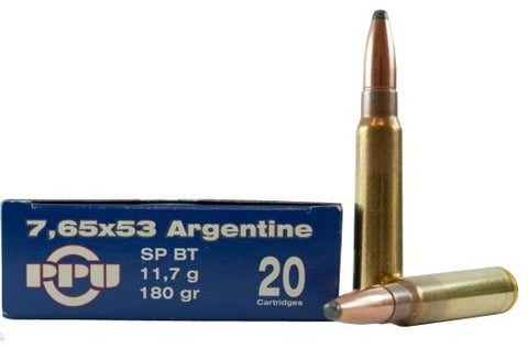 Prvi Partizan PPU Ammunition 7.65x53 Argentine 174 Grain Soft Point Jacket Boat Tail (20pk)