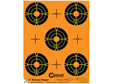 "Caldwell Orange Peel Targets 2"" Self-Adhesive Bullseye (5 Bulls Per Sheet) (10Pk)"