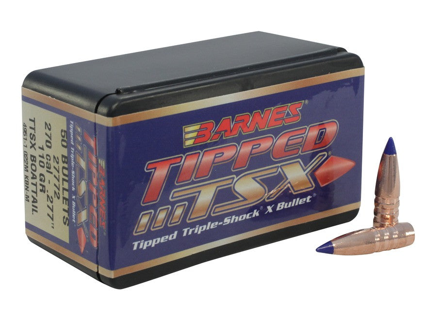 Barnes Tipped Triple-Shock X Bullets 270 Caliber (277 Diameter) 110 Grain Spitzer Boat Tail Lead-Free (50pk)