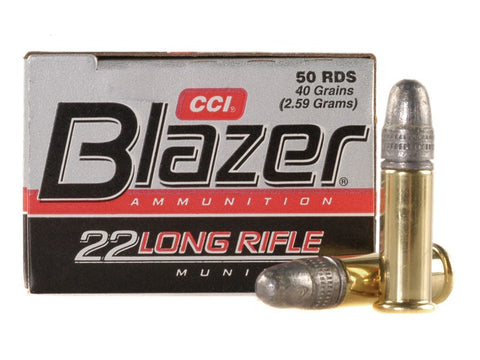 CCI Blazer Ammunition 22 Long Rifle (22LR) 40 Grain Lead Round Nose (LRN) (50pk)