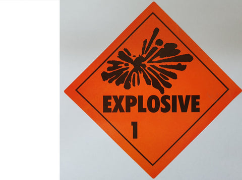 Explosive 1 Label / Sticker - Can be modified for <b>Black Powder</b> or <b>Ammunition</b> (E1)