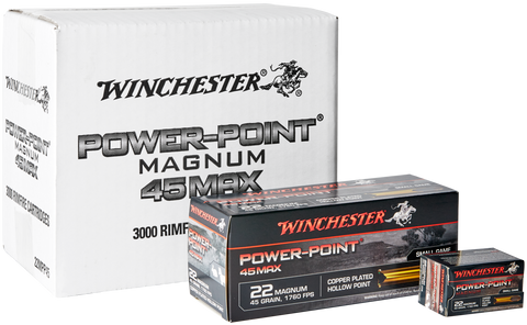 Winchester Power-Point Ammunition 22 Winchester Magnum Rimfire (WMR) (22Mag) 45 Grain Copper Plated Hollow Point (50pk)